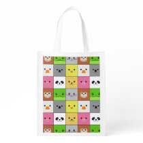 Cute Colorful Animal Face Squares Pattern Design Reusable Grocery Bag