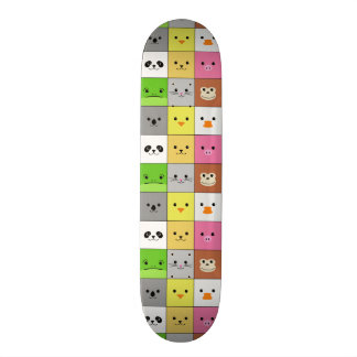 Cute Colorful Animal Face Squares Pattern Design Skateboards