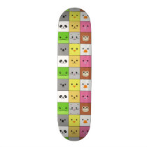 Cute Colorful Animal Face Squares Pattern Design Skateboard Deck