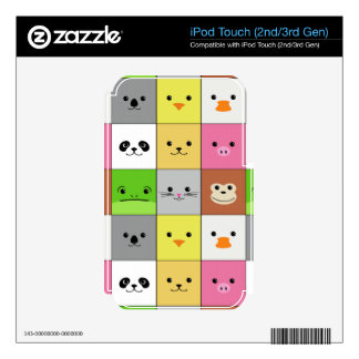 Cute Colorful Animal Face Squares Pattern Design Skin For iPod Touch 2G