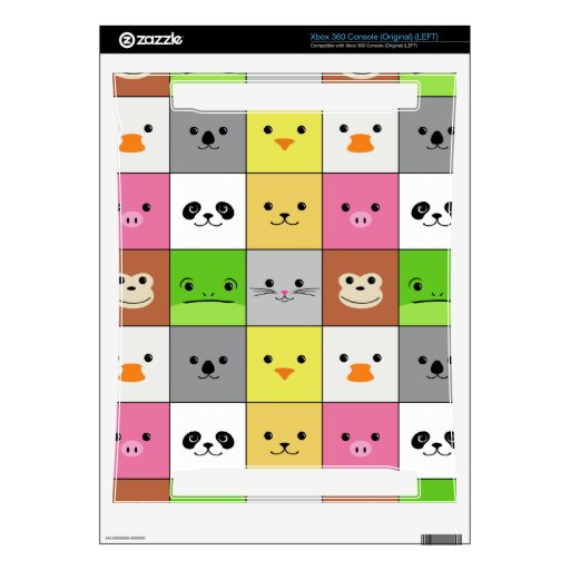 Cute Colorful Animal Face Squares Pattern Design Xbox 360 Skin