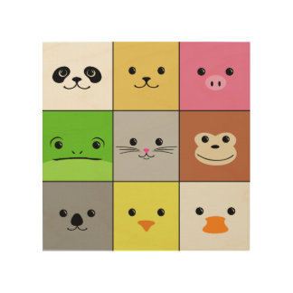 Cute Colorful Animal Face Squares Pattern Design Wood Wall Art