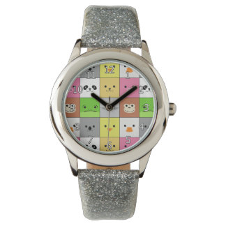Cute Colorful Animal Face Squares Pattern Design Wristwatches