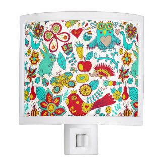 Cute Colorful Animals And Flowers Night Lites