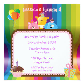 Cute & Colorful Animals Girls Birthday Party Personalized Announcement