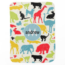 Cute Colorful Animals Personalized Baby Boy Receiving Blanket