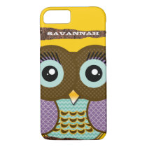 Cute Colorful Aqua and Purple Owl iPhone 7 Case