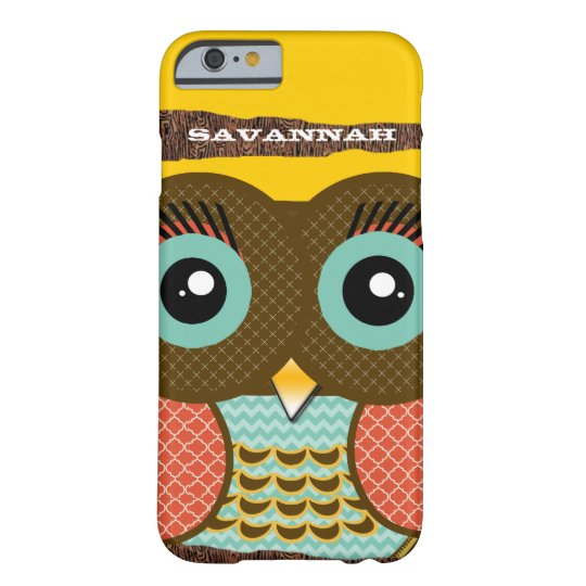 Cute Colorful Aqua Coral Owl Barely There iPhone 6 Case