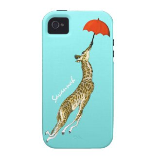 Cute Colorful Aqua Flying Giraffe Red Umbrella Iphone 4 Cases