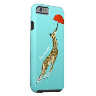 Cute Colorful Aqua Flying Giraffe Red Umbrella Tough iPhone 6 Case