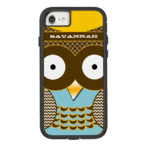 Cute Colorful Aqua Zigzag Mustard Yellow Owl Case-Mate Tough Extreme iPhone 8/7 Case