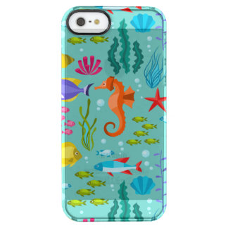 Cute Colorful aquatic life & animals illustration Clear iPhone SE/5/5s Case