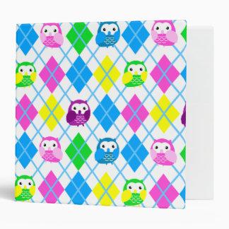 Cute Colorful Argyle Owl Pattern Binder