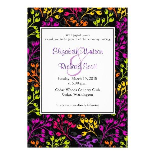 Cute colorful autumn fruits wedding invitation