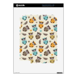 cute colorful autumn owl pattern iPad 2 decal