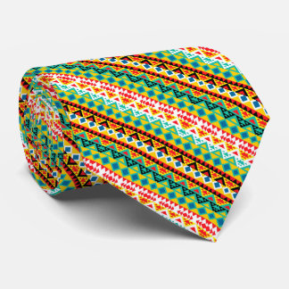 Cute colorful aztec patterns design neck tie