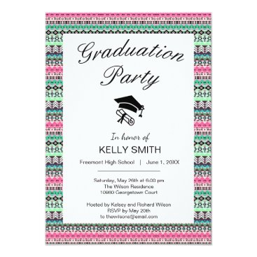 Aztec Themed Cute colorful aztec patterns graduation party card