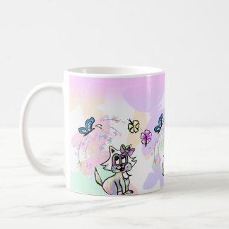 Cute colorful baby cat on a butterfly background coffee mug