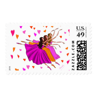 Cute Colorful Ballerinas Dancing and Jumping Postage