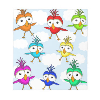 Cute colorful birds notepad