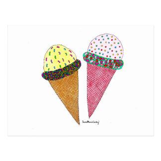 Cute Colorful Birthday Ice Cream Postcard