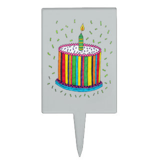 Cute Colorful Birthday Party Cake Cake Topper