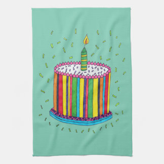 Cute Colorful Birthday Party Cake Hand Towel