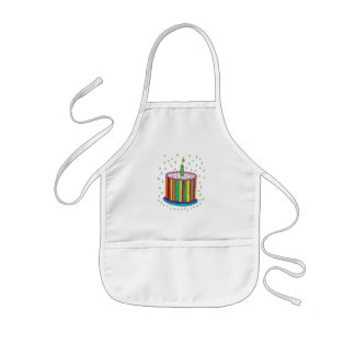 Cute Colorful Birthday Party Cake Kids' Apron