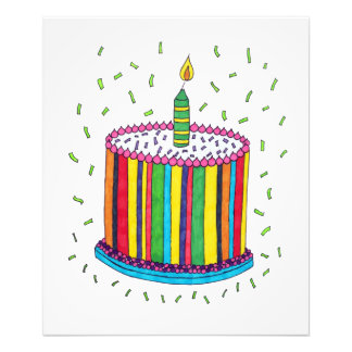 Cute Colorful Birthday Party Cake Photo Print