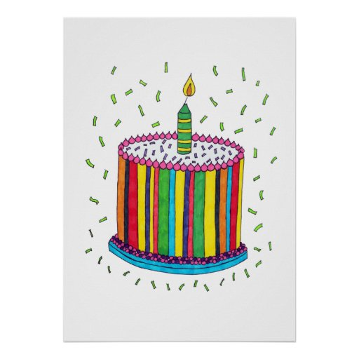Cute Colorful Birthday Party Cake Poster Zazzle