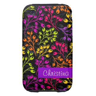 Cute colorful & black autumn berries tough iPhone 3 case