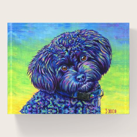 Cute Colorful Black Toy Poodle Dog Paperweight