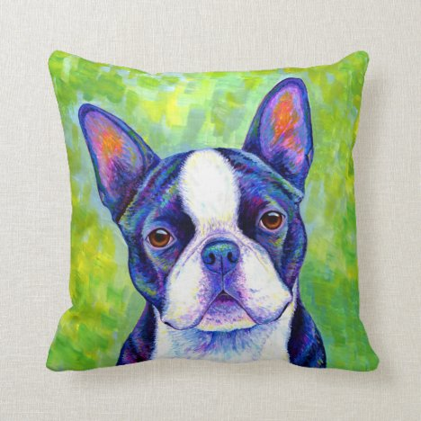 Cute Colorful Boston Terrier Dog Throw Pillow