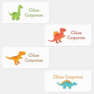 Cute Colorful Boy Dinosaur Kids' Labels
