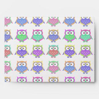 Cute Colorful Bright Owl Bird Cartoon Envelopes