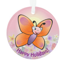 Cute Colorful Butterfly Cartoon Ornament