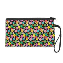 Cute colorful button pattern wristlet