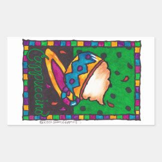 Cute Colorful Cappuccino Illustration Art Rectangular Sticker