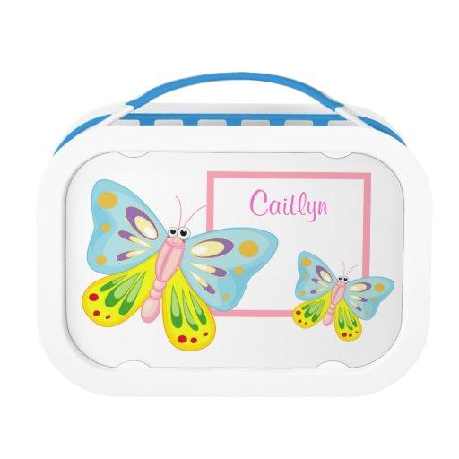 Cute Colorful Cartoon Butterfly Custom Girls Name Lunch Box