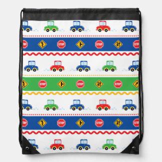 Cute Colorful Cartoon Cars Drawstring Bag