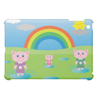 Cute Colorful Cartoon Cats Jumping In Puddles iPad Mini Covers