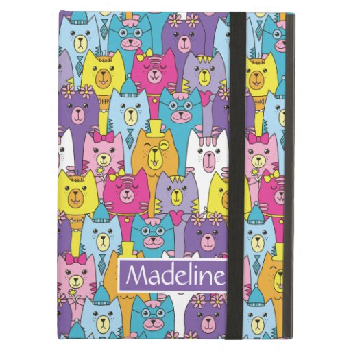 Cute Colorful Cartoon Cats Pattern Add Name Case For iPad Air