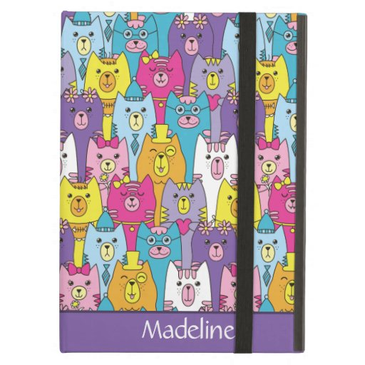 Cute Colorful Cartoon Cats Pattern Personalized Case For iPad Air