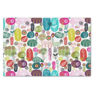 "Cute Colorful Cartoon Childlike Floral Pattern 10"" X 15"" Tissue Paper"