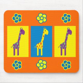 Cute & Colorful Cartoon Giraffes & Flowers Orange Mouse Pad