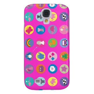Cute Colorful Cartoon Icons Pink Custom Galaxy S4 Cover