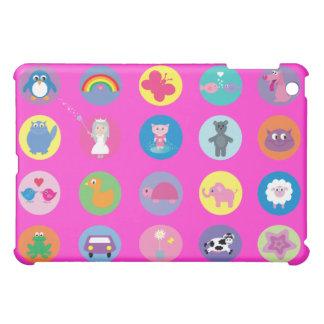 Cute Colorful Cartoon Icons Pink Custom iPad Mini Cover