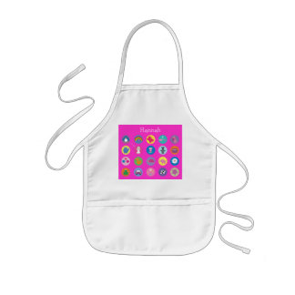 Cute Colorful Cartoon Icons Pink Personalized Kids' Apron