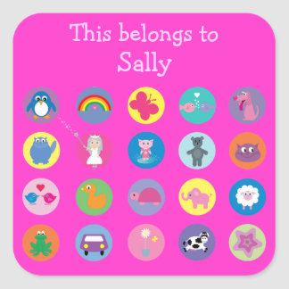 Cute Colorful Cartoon Icons Pink Personalized Stickers