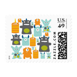 Cute colorful cartoon monsters postage stamps